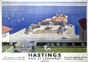Hastings & St Leonards Pier, Sussex. BR (SR) Vintage Travel Poster by FW Wentworth-Shields